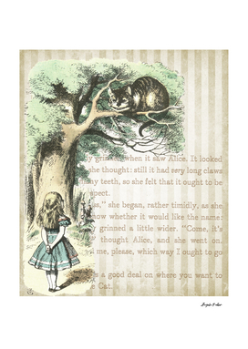 Wonderland Alice & Cat Collage