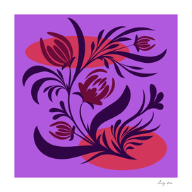 Folk floral print . Abstract flowers art , poster.