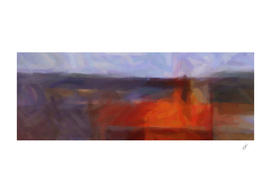 Horizontal abstraction in oil on canvas with a red accent.