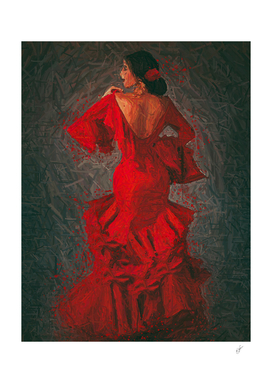 Dancing Spanish girl in a red dress.