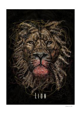 lion scribble art