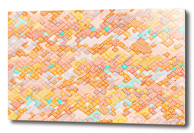 geometric square pixel line pattern abstract in brown