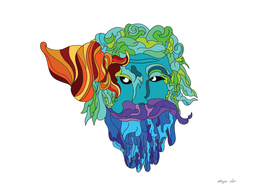 Abstract Colorful Art Beard Man