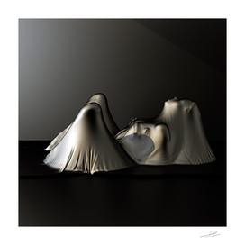 girl under black cloth