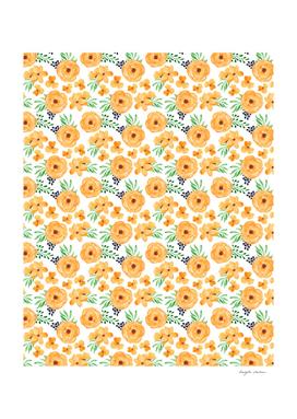 Orange Green Floral Pattern