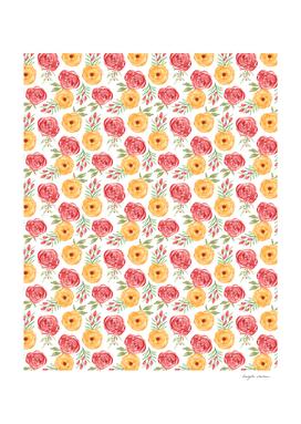 Red Orange Floral Pattern