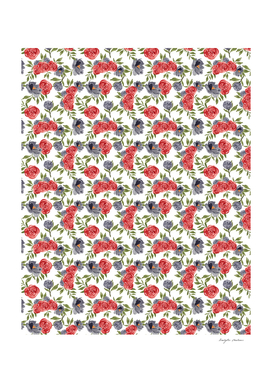 Red Blue Floral Pattern