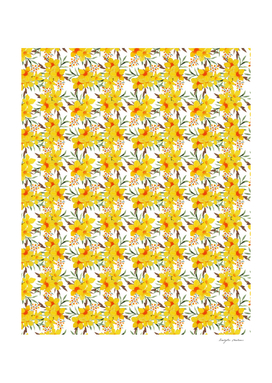 Yellow wildflower floral pattern