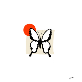 Butterfly with orange dot