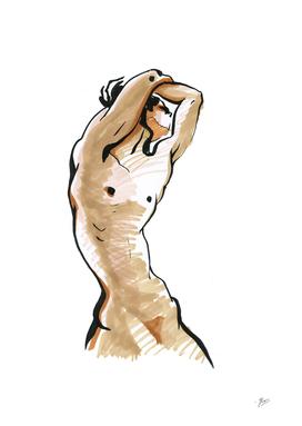 Silhouette of Man. Torso.