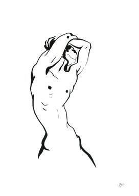 Man. Black Line-art sketch.
