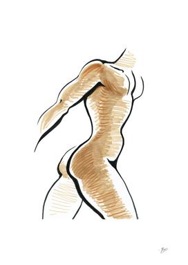 Ink Male torso. Sports silhouette, sketch style.