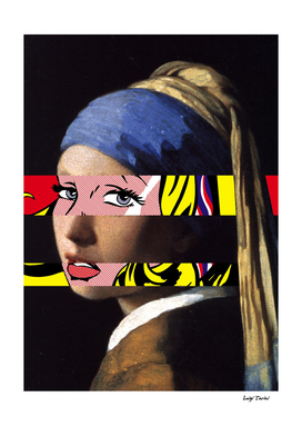 Vermeer Girl with Pearl and Lichtenstein's Girl with Ribbon