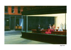 Hopper's Nighthawks and Joker (Joaquin Phoenix)