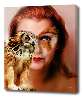 woman and owl