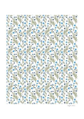 Blue flower watercolor pattern
