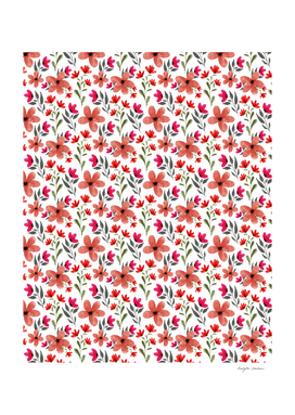 Red flower watercolor pattern