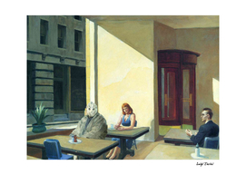 Jason Vorhees in Hopper's Sunlight in a Cafeteria