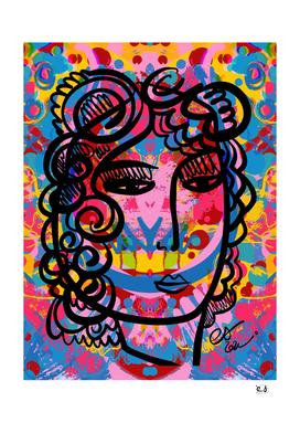 Pop Girl Portrait and Mystical Mandala