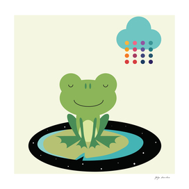 A frog in a colorful rain!