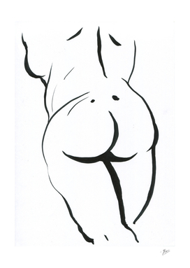 Female silhouette. Sketch of woman.