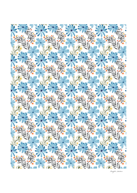 Cute Blue floral watercolor pattern