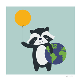 A raccoon holds the world
