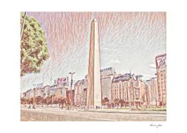 Argentina Obelisk Artistic Illustration Red Pencil St
