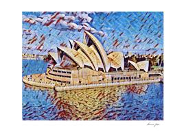 Australia Opera House Artistic Illustration Mosaic St