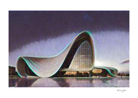 Azerbaijan Heydar Aliyev Center Artistic Illustration