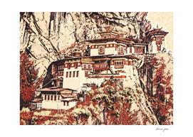 Bhutan Paro Taktsang Artistic Illustration Blossom St