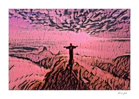 Brazil Christ the Redeemer Artistic Illustration Pink