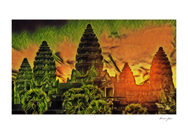 Cambodia Angkor Wat Artistic Illustration Oriental Sp