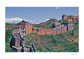 China Great Wall Artistic Illustration Chapped Paint