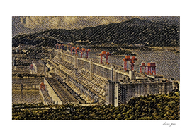 China Three Gorges Dam Artistic Illustration Snake St