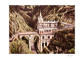 Colombia Las Lajas Sanctuary Artistic Illustration Sl