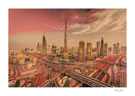 Dubai City Artistic Illustration East Winds Style