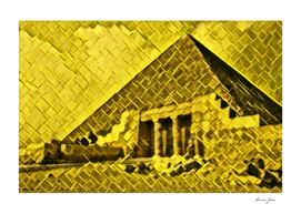 Egypt Pyramids Artistic Illustration Gold Floor Style