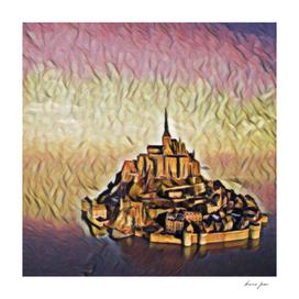 France Le Mont-Saint-Michel Artistic Illustration Red