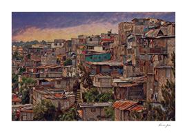 Guatemala City Slum Artistic Illustration Old and Cha