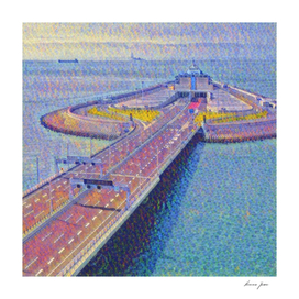 Hong Kong-Zhuhai-Macao Bridge Artistic Illustration P