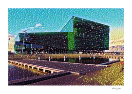 Iceland Harpa Concert Hall Artistic Illustration Gems