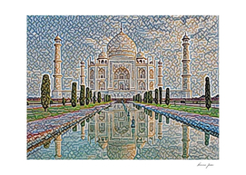 India Taj Mahal Artistic Illustration Carpet Style