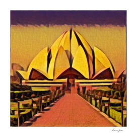 India The Lotus Temple Artistic Illustration Hot Summ