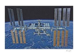 International Space Station Artistic Illustration Voi