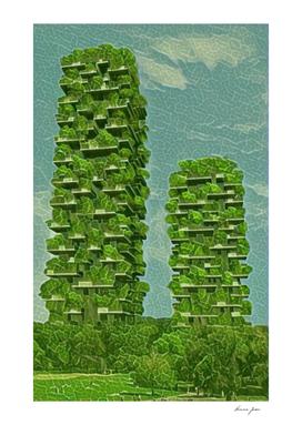 Italy Bosco Verticale Artistic Illustration Green Lea