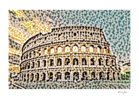 Italy Colosseum Artistic Illustration Colored Slits S