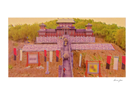 Japan Takeshi's castle Artistic Illustration Zen Styl