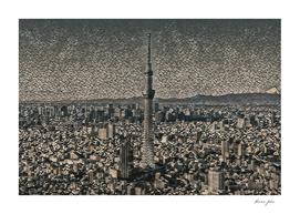 Japan Tokyo Skytree Artistic Illustration Pebbles Sty