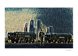Russia Moscow Skyline Artistic Illustration Rough Sur